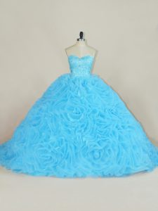 Flirting Court Train Ball Gowns Quinceanera Dress Baby Blue Sweetheart Organza Sleeveless Floor Length Lace Up