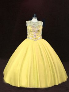 Gold Tulle Lace Up Vestidos de Quinceanera Sleeveless Floor Length Beading