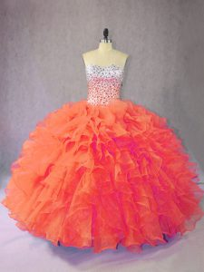 Charming Floor Length Orange Sweet 16 Dress Organza Sleeveless Beading and Ruffles