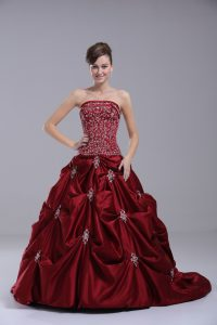 Wine Red Ball Gown Prom Dress Sweet 16 and Quinceanera with Embroidery and Pick Ups Strapless Sleeveless Brush Train Lace Up