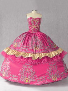 Stunning Sleeveless Satin and Organza Lace Up Ball Gown Prom Dress in Hot Pink with Embroidery