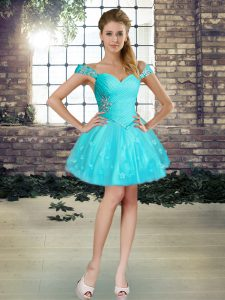 Graceful Aqua Blue Lace Up Off The Shoulder Beading and Appliques Evening Dress Tulle Sleeveless