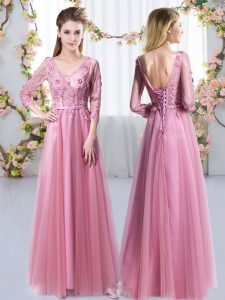 Artistic Empire Bridesmaids Dress Pink V-neck Tulle 3 4 Length Sleeve Floor Length Lace Up