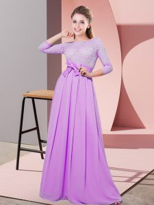 Great Lilac Scoop Side Zipper Lace and Belt Damas Dress 3 4 Length Sleeve