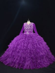 Purple Lace Up V-neck Beading and Ruffled Layers Quinceanera Dress Organza Long Sleeves