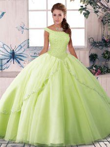 Off The Shoulder Sleeveless Quinceanera Dress Brush Train Beading Yellow Green Tulle