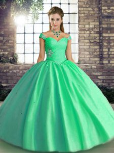 Floor Length Turquoise Quinceanera Gowns Off The Shoulder Sleeveless Lace Up