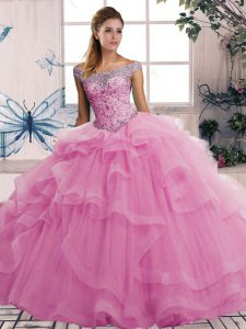 Fantastic Off The Shoulder Sleeveless Lace Up Quinceanera Gown Rose Pink Tulle