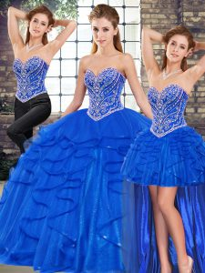Glorious Sleeveless Beading and Ruffles Lace Up 15 Quinceanera Dress