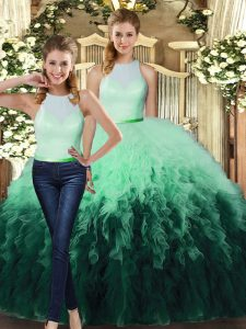Floor Length Multi-color Quinceanera Gowns Tulle Sleeveless Ruffles