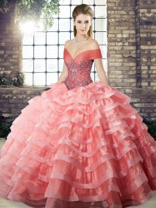 Beautiful Organza Sleeveless Sweet 16 Dresses Brush Train and Beading and Ruffled Layers