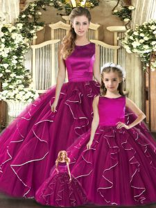 Glamorous Fuchsia Ball Gowns Scoop Sleeveless Tulle Floor Length Lace Up Ruffles Quinceanera Gown