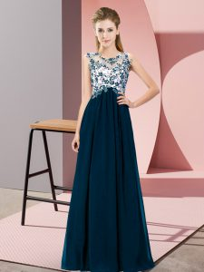 Admirable Beading and Appliques Bridesmaid Gown Navy Blue Zipper Sleeveless Floor Length