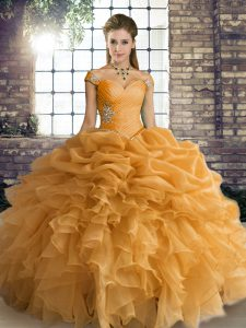 Fabulous Sleeveless Floor Length Beading and Ruffles and Pick Ups Lace Up 15 Quinceanera Dress with Orange