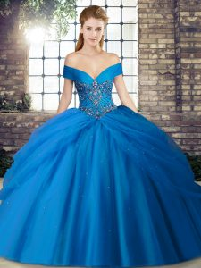 Blue Lace Up Off The Shoulder Beading and Pick Ups Quinceanera Gown Tulle Sleeveless Brush Train