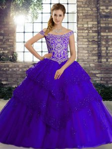 Sophisticated Purple Off The Shoulder Neckline Beading and Lace Vestidos de Quinceanera Sleeveless Lace Up