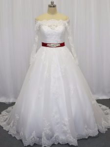 Wonderful White Long Sleeves Brush Train Beading and Lace and Belt Wedding Dresses