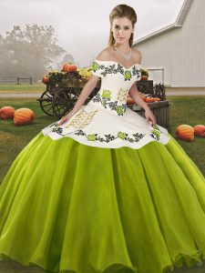 Romantic Olive Green Lace Up Vestidos de Quinceanera Embroidery Sleeveless Floor Length
