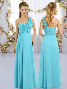 Sleeveless Chiffon Floor Length Lace Up Bridesmaids Dress in Aqua Blue with Hand Made Flower