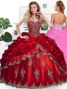 Fantastic Wine Red Sweetheart Lace Up Beading and Appliques and Pick Ups Sweet 16 Dress Sleeveless