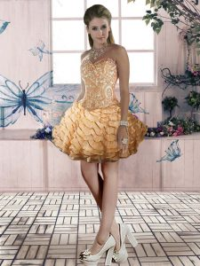 Organza Sweetheart Sleeveless Lace Up Beading and Lace and Ruffled Layers in Gold