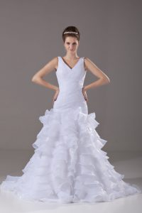 Delicate Organza Sleeveless Wedding Dresses Brush Train and Ruffled Layers