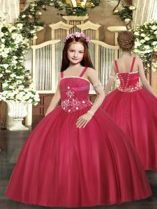 Red Lace Up Straps Beading Kids Formal Wear Tulle Sleeveless