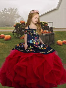 Beautiful Embroidery and Ruffles Pageant Dress for Girls Red Lace Up Sleeveless Floor Length