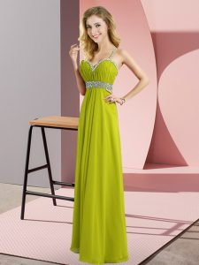 Romantic Olive Green Chiffon Criss Cross Prom Dress Sleeveless Floor Length Beading