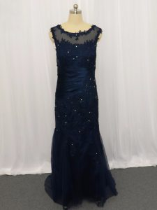 Artistic Navy Blue Zipper Lace and Appliques Sleeveless Floor Length