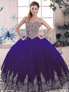 Beading and Embroidery 15 Quinceanera Dress Purple Lace Up Sleeveless Floor Length
