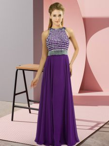 Simple Purple Scoop Side Zipper Beading Prom Party Dress Sleeveless