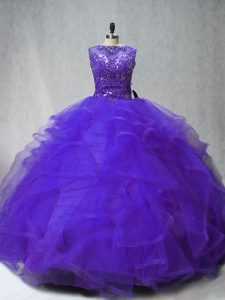 Scoop Sleeveless Brush Train Lace Up Quinceanera Gown Purple Tulle