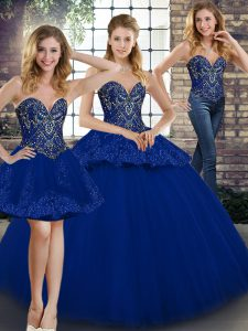 Sleeveless Tulle Floor Length Lace Up Sweet 16 Quinceanera Dress in Royal Blue with Beading and Appliques