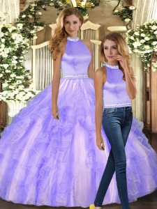 Great Lavender Sweet 16 Quinceanera Dress Sweet 16 and Quinceanera with Ruffles Halter Top Sleeveless Backless