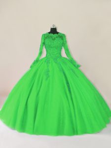 Glorious Green Zipper Scalloped Lace Quince Ball Gowns Tulle Long Sleeves