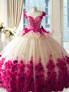 Zipper 15th Birthday Dress Fuchsia for Sweet 16 and Quinceanera with Hand Made Flower Brush Train