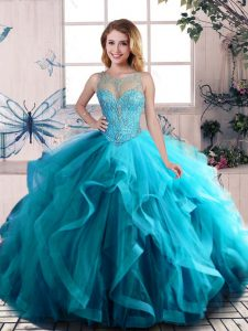 Floor Length Aqua Blue Sweet 16 Quinceanera Dress Tulle Sleeveless Beading and Ruffles