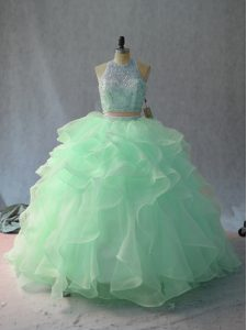 Apple Green and Pink And White Organza Backless Halter Top Sleeveless Floor Length Quince Ball Gowns Beading and Ruffles