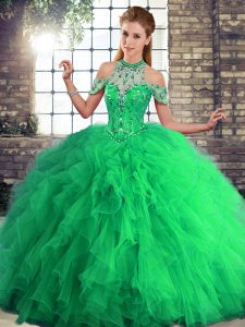 Artistic Tulle Halter Top Sleeveless Lace Up Beading and Ruffles Quinceanera Gown in Green