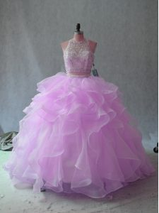 Charming Lilac Two Pieces Halter Top Sleeveless Organza Floor Length Backless Beading and Ruffles Vestidos de Quinceanera