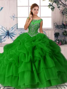 Luxury Green Zipper Sweet 16 Quinceanera Dress Beading and Pick Ups Sleeveless Brush Train