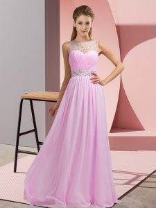 Lovely Floor Length Empire Sleeveless Pink Homecoming Dress Backless