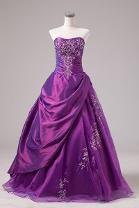 Purple Zipper Vestidos de Quinceanera Embroidery Sleeveless Floor Length