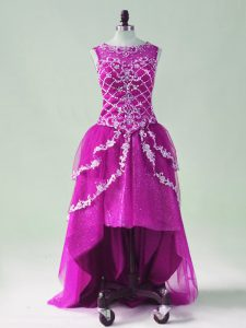 Fuchsia A-line Beading and Appliques Prom Gown Zipper Tulle Sleeveless High Low