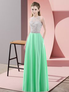 Apple Green Satin Backless Scoop Sleeveless Floor Length Prom Dresses Beading
