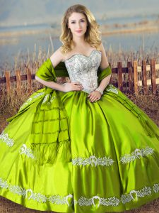 Elegant Floor Length Lace Up Quinceanera Gown for Sweet 16 and Quinceanera with Beading and Embroidery