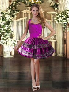 Sweet Fuchsia Lace Up Dress for Prom Embroidery Sleeveless Mini Length