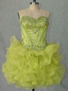 Organza Sweetheart Sleeveless Lace Up Beading and Ruffles Prom Gown in Yellow Green