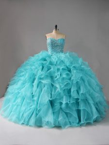 Fantastic Aqua Blue Quince Ball Gowns Sweet 16 and Quinceanera with Beading and Ruffles Sweetheart Sleeveless Lace Up
